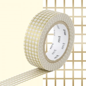 Taśma washi mt masking tape 15 mm - złota kratka